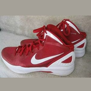 Nike Hyperdunk Zoom Sneakers 454143-600 Men's 10 Red & White Basketball Shoes